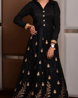 BLACK GOWN WITH BEAUTIFUL GOLDEN ZARI EMBROIDERY